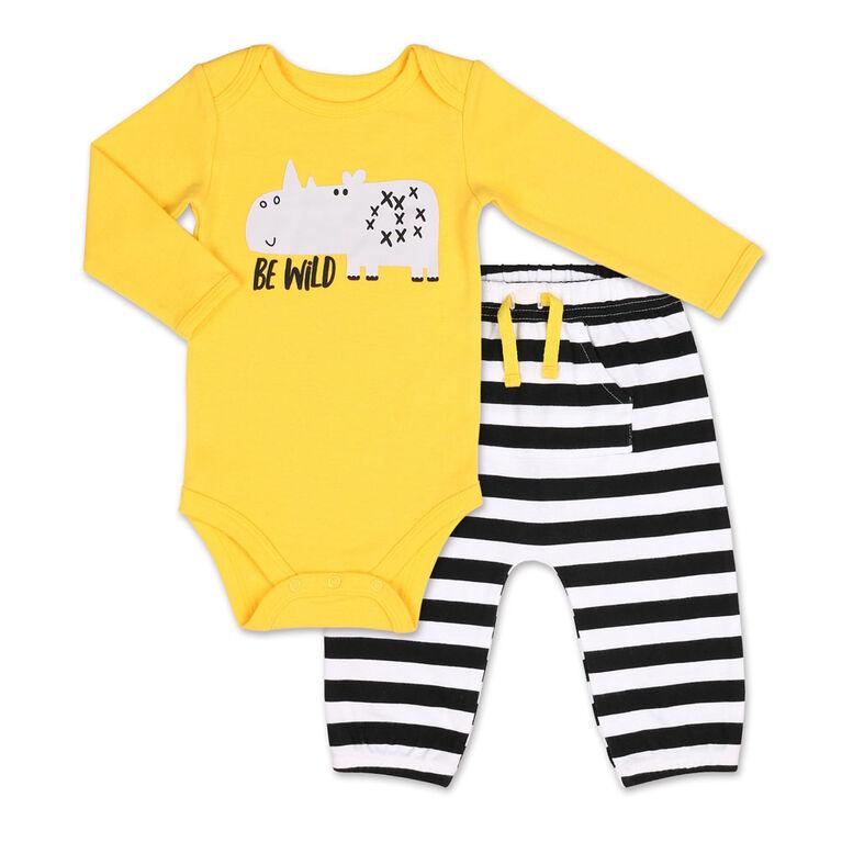 Koala Baby Safari Be Wild Rhino Long sleeve Bodysuit/Striped Pant 2 Piece Set, 3-6 Months