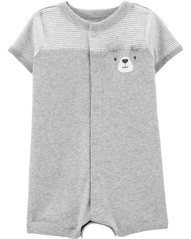 Carter's Bear Snap-Up Romper - Grey, 6 Months