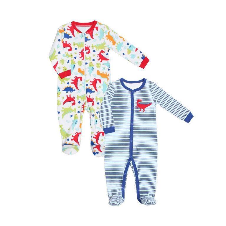 Koala Baby Boys 2-Pack Sleeper- 'Dino' Blue,White 0-3 Months