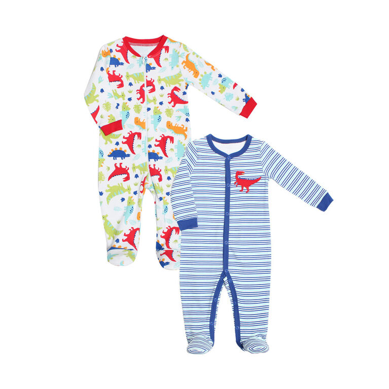 Koala Baby Boys 2-Pack Sleeper- 'Dino' Blue,White Newborn