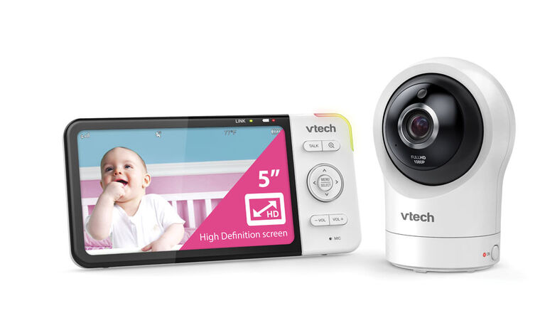 """VTech RM5764HD Smart Wi-Fi Video Baby Monitor with 5"""" display and 1080p HD 360 degree, Panoramic Viewing Pan & Tilt Camera, White"""