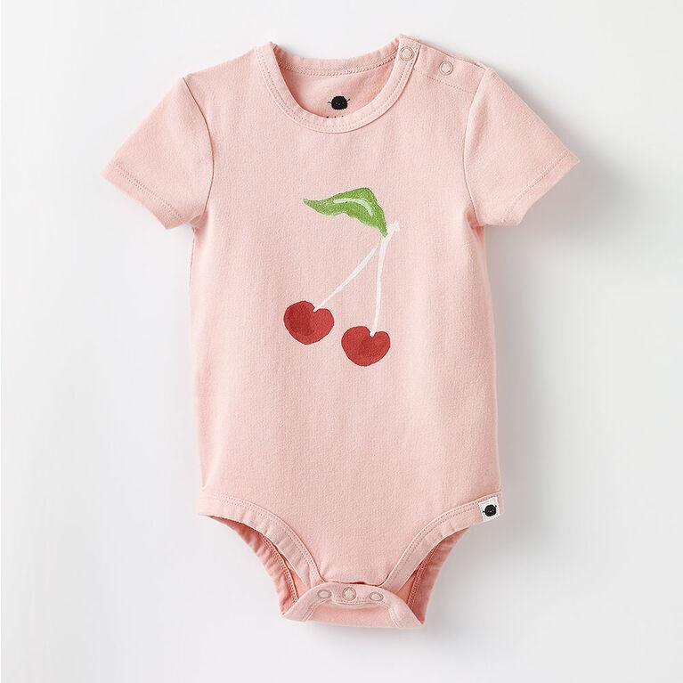 short-sleeve play all day organic bodysuit , 18-24m - light pink