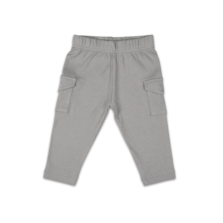 The Peanutshell Baby Boy Layette Mix & Match Cargo Pant Dark Grey - 0-3 Months