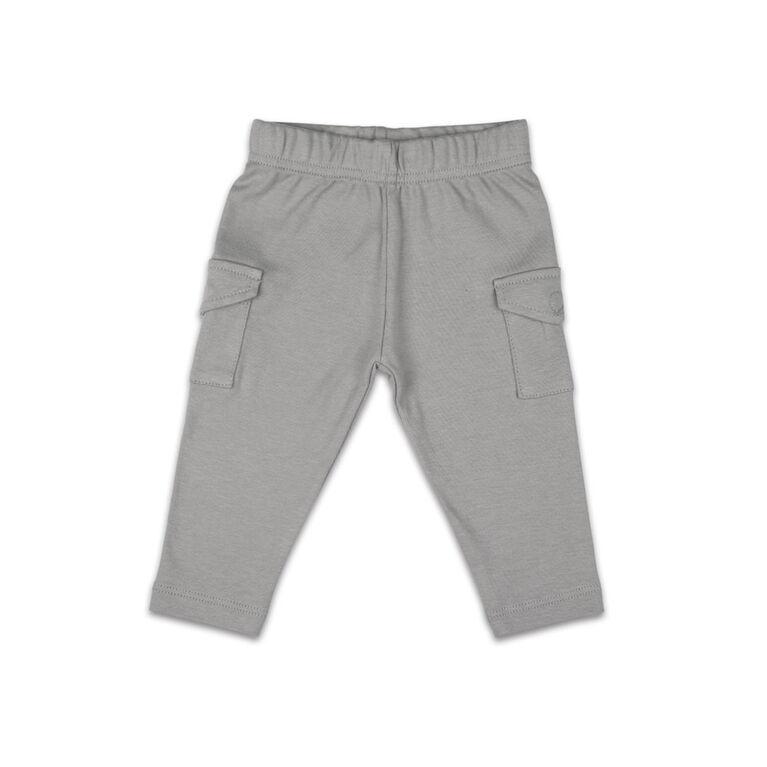 The Peanutshell Baby Boy Layette Mix & Match Cargo Pant Dark Grey - 12-18 Months