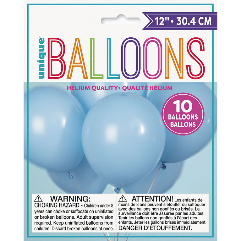 """12"""" Latex Balloons, 10 pieces - Baby Blue"""