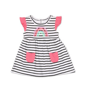 Koala Baby Short Sleeve Rainbow Black & White Stripe Dress - 6 to 12 months