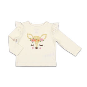 The Peanutshell Baby Girl Layette Mix & Match Deer Long Sleeve Shirt with Shoulder Ruffle - 0-3 Months