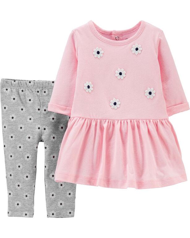 Carter's 2-Piece Floral Jersey Dress & Legging Set - Pink/Grey, 9 Months