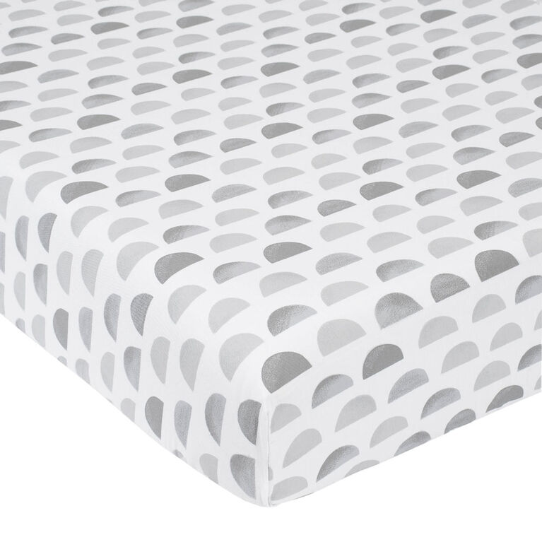Just Born Dream Ombre Fitted Crib Sheet Grey Semicircle
