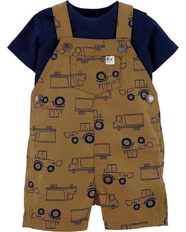 Ensemble 2 pièces t-shirt et salopette courte à camion Carter's – brun/marine, 12 mois
