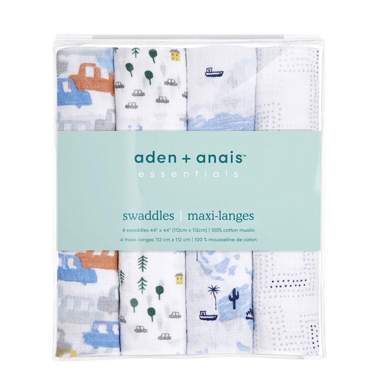 Languettes En Mousseline De Coton Aden + Anais Essentials Little Big World, Lot De 4