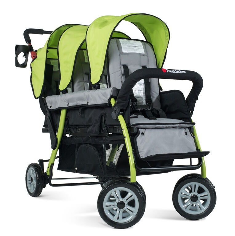 Foundations – Poussette pour 3 passagers Trio Sport en couleur – Vert lime.