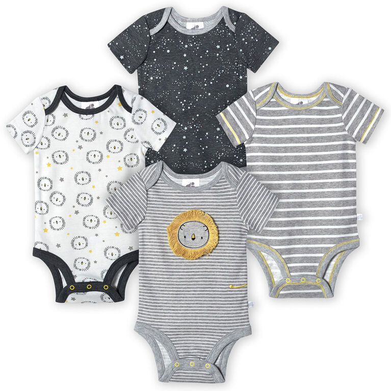 Just Born Baby Boys 4-Pack Organic Short Sleeve Onesies Bodysuits - Lil Lion Newborn