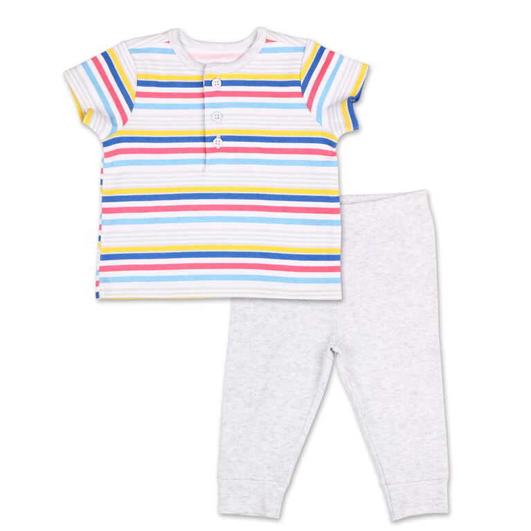 Koala Baby Summer Fun Striped Henley Tee/Jogger 2 Piece Set, 0-3 Months
