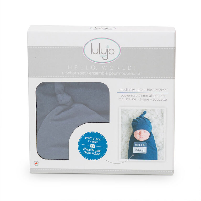 Lulujo Baby Hello World Newborn Bamboo Hat and Swaddle Blanket Set Navy