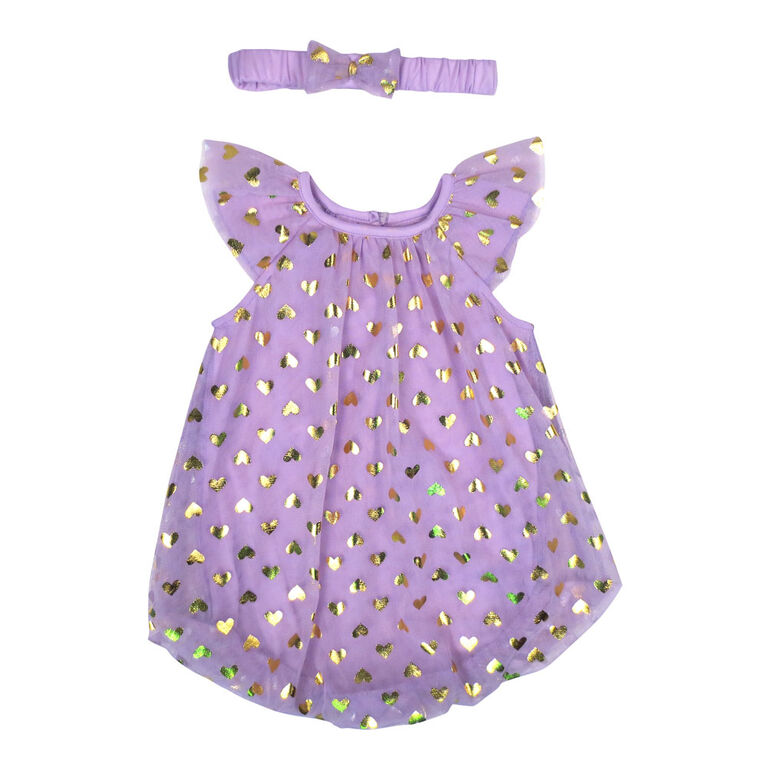 Rococo Bubble Romper with Headband - Orchid, 3-6 Months