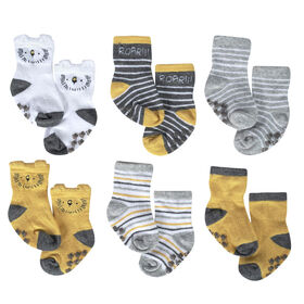 Just Born Baby Boys 6-Pack Wiggle Proof Socks -Lil Lion 6-12 Months