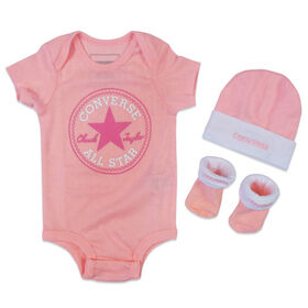 Converse 3-Piece Creeper Set - Pink, 0/6 Months