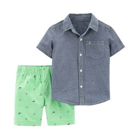 Carter's 2-Piece Chambray Top & Nautical Short Set - Chambray, 3 Months