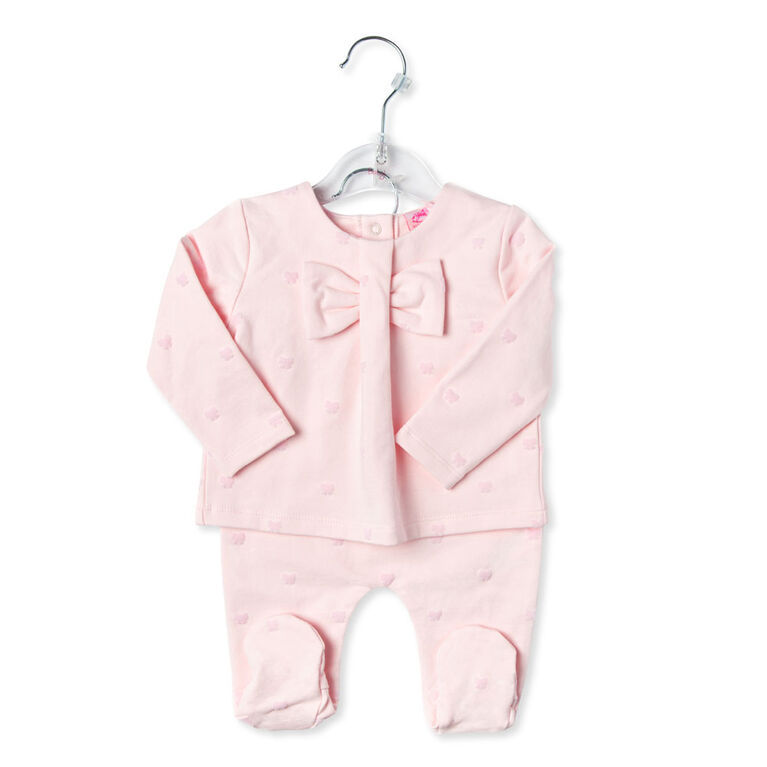 Rock a Bye Baby - Girls 2 Piece Footed Pant Set : Bow - 0-3 Months
