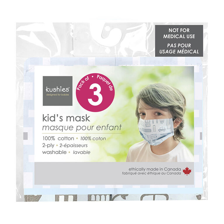 Kushies Kids' Mask 3 Pack - blue