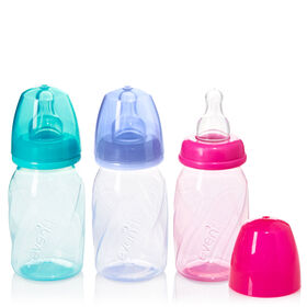 Biberons ventilés en polypropylène et verre teinté Vented + Evenflo – rose, sarcelle, lavande, 4oz, emballage de 3