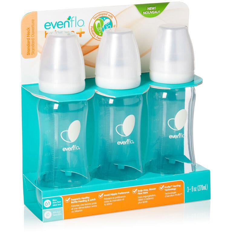Evenflo Balance + Standard 9oz Neck Bottles 3-Pack - Clear