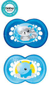 Mam Animals 2-Pack Silicone Pacifier 6+ - Blue
