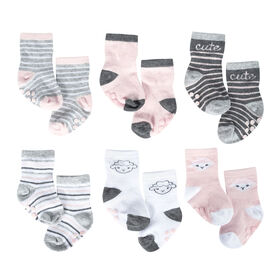 Just Born Baby Girls' 6-Pack Wiggle Proof Socks - Lil' Lamb 6-12 months