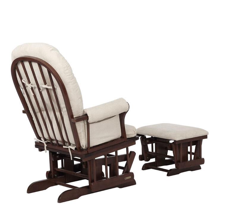 Lennox Furniture Quinn Espresso Glider & Ottoman - Pearl Beige