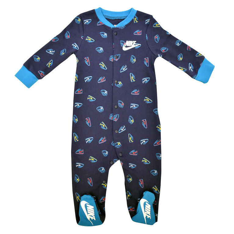 Nike footed Coverall - Navy, 0-3 newborn