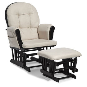 Storkcraft Hoop Glider and Ottoman - Black/Beige