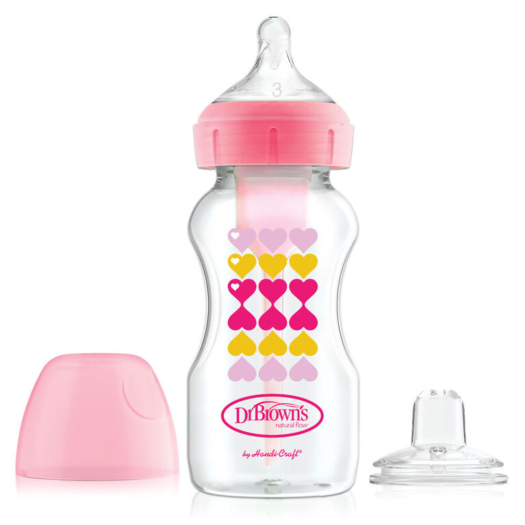Dr. Brown's Options+ Sippy Bottle Starter Kit Wide Neck - Pink