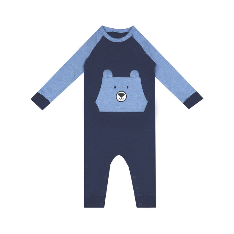 earth by art & eden - Nate Animal Pocket Coverall - Navy Heather, 12 Months