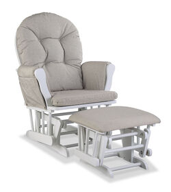 Hoop Glider and Ottoman - White/ Swirl Taupe