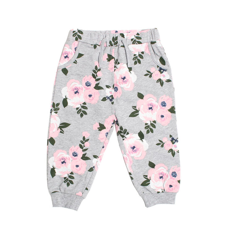 Koala Baby Girls Cotton French Terry Jogger Pants With Pocket and Drawstring Grey Floral Print 6-9M