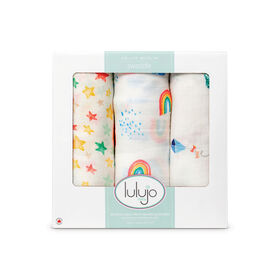 Lulujo 3 pack Swaddle Blanket Bamboo Cotton - High in the Sky