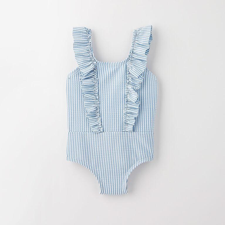 ruffle swimsuit, 6-9m - light blue stripe