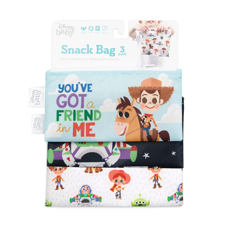 Bumkins Disney Sandwich Bags/Snack Bags, BPA Free, Pack of 3 - Toy Story