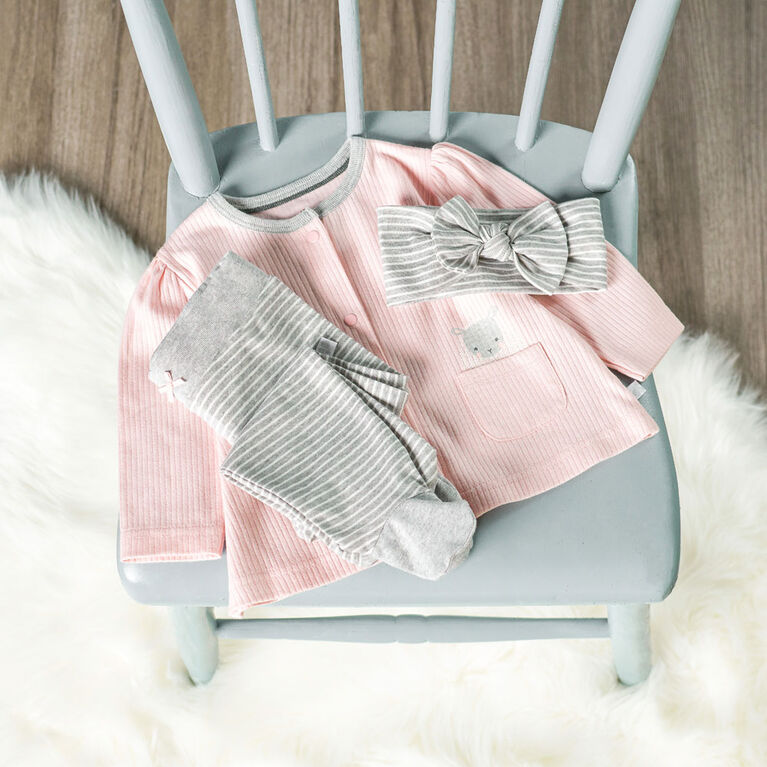 Just Born Baby Girls' 3-Piece Organic Take Me Home Set - Lil' Lamb 6-9 months
