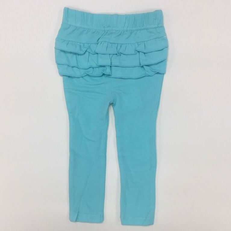 Coyote and Co. Aqua blue Pull on Leggings with Ruffles - size 3-6 months