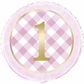 "Ballon aluminium rond, 18 "" - Pink Gingham 1st Birthday"