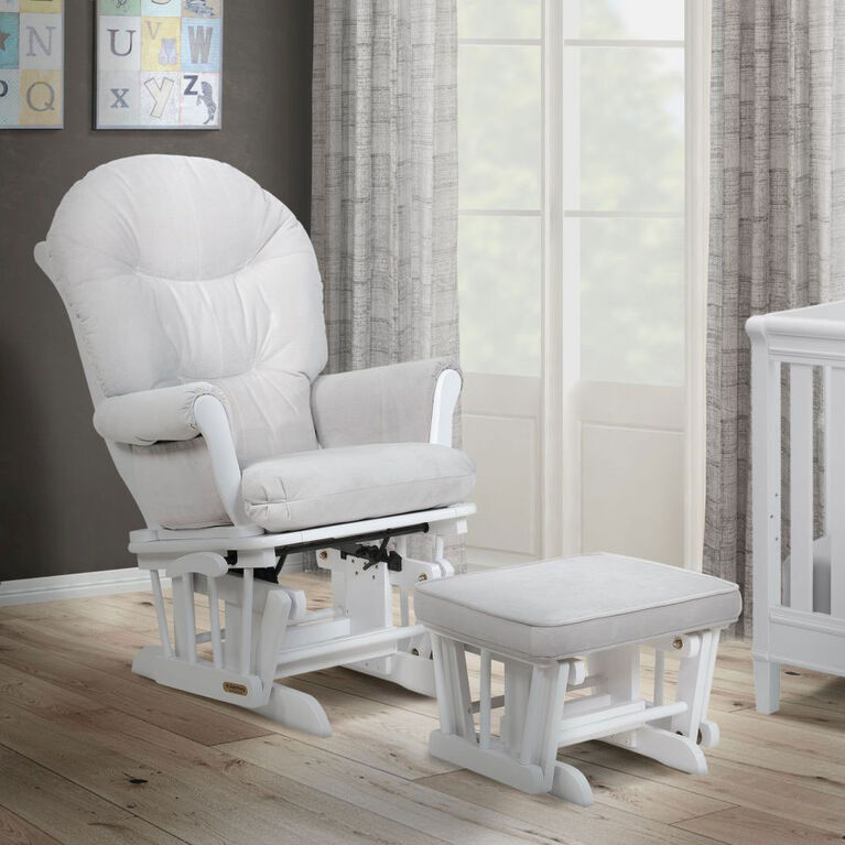 Lennox - Valencia Glider Chair and Ottoman - White/Grey - R Exclusive