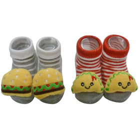 So Dorable 2 Pack Rattle Booties With 3D Icons -  Burgers / Tacos 0-12M
