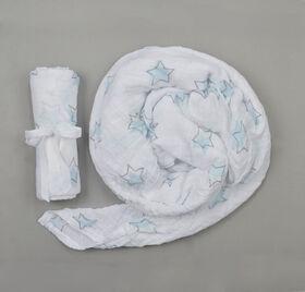 BBZanimo muslin swaddle blanket - Stars, Aqua