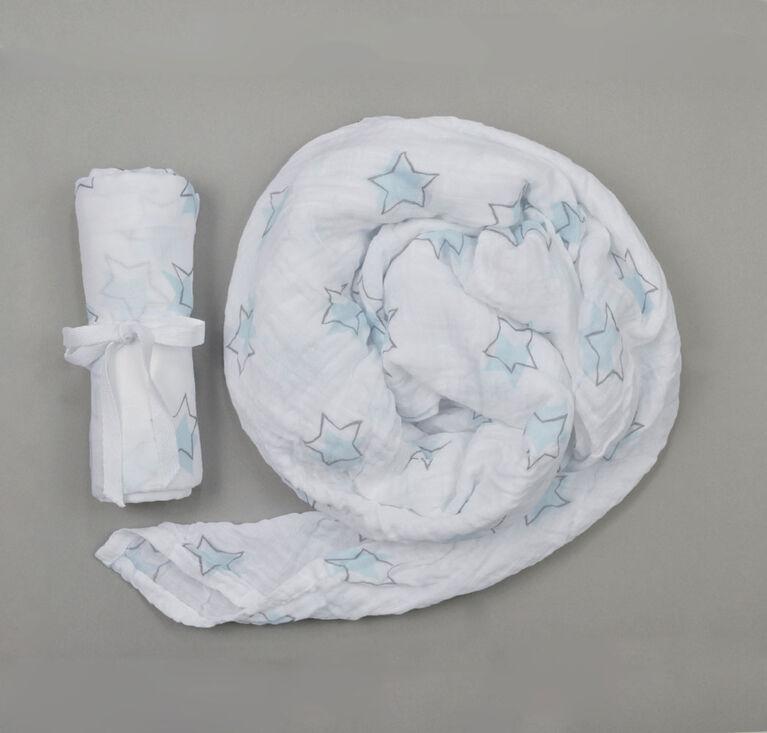 Couverture d'emmaillotage mousseline BBZanimo - Étoiles, aqua.