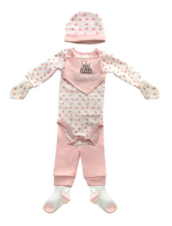 Koala Baby Pink 8 pieces set 3-6 month includes hat, mittens, socks, body suit, pants & bib