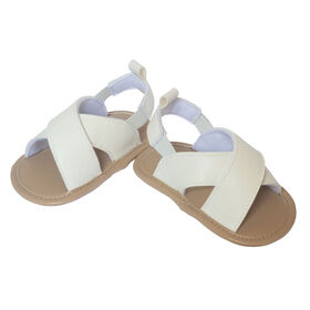 So Dorable White faux leather Sandals size 6-9 months