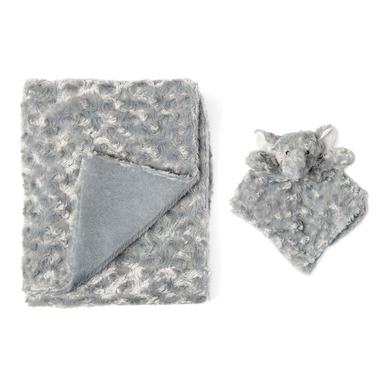 Grey Curly Plush Elephant Blanket Set