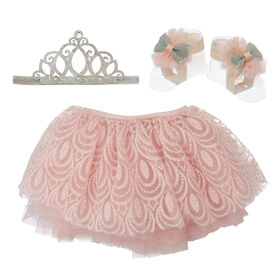 Elly & Emmy 3 Piece Tutu Set With Silver Crown Tiara, and Matching Footwraps